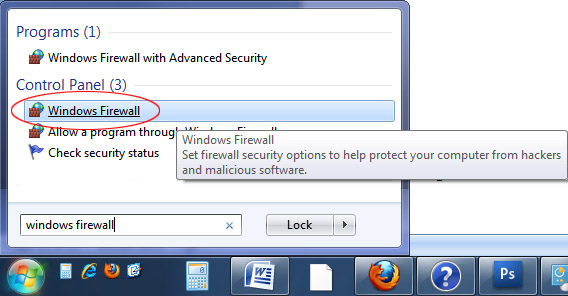accessing the windows 7 firewall