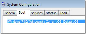 windows 7 and vista boot option in msconfig