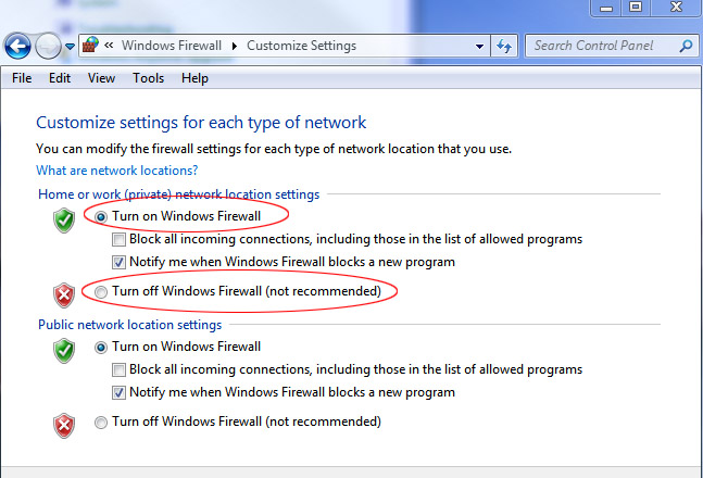 firewall settings: