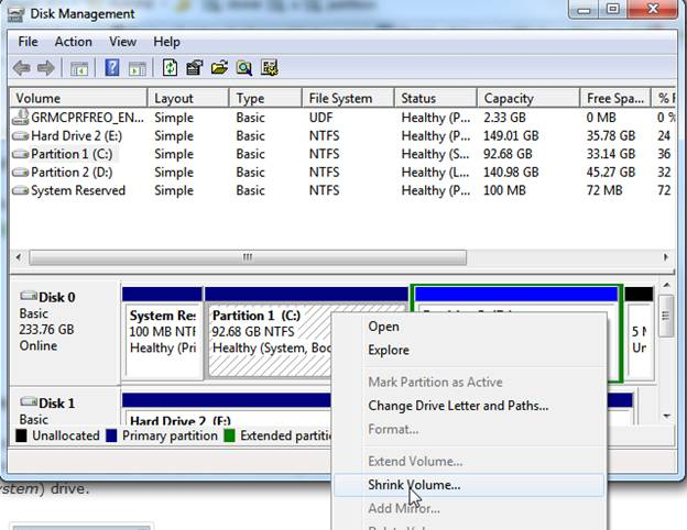 shrink a volume in windows 7 and vista