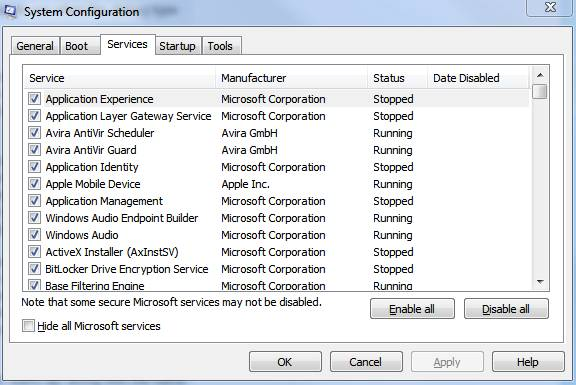 windows 7 msconfig services tab