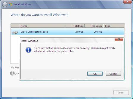 windows 7 additional partition prompt