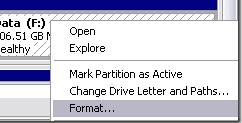 formatting a partition in windows example