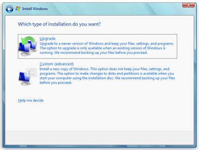 windows 7 which type of installation do you want upgrade